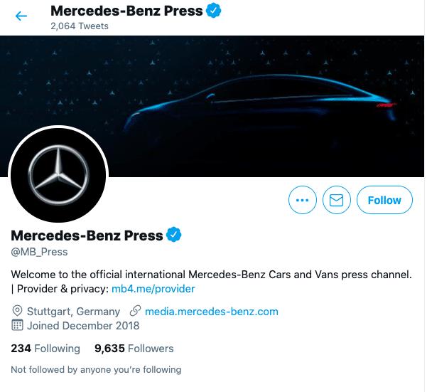 change twitter handle: Mercedes Benz Press Twitter profile