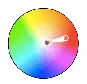 Color wheel with two monochromatic colors plotted along the red hue