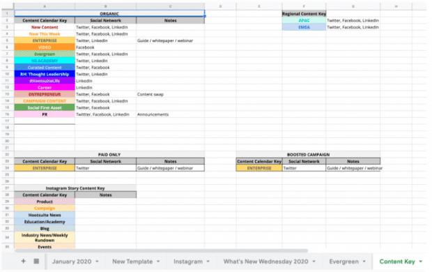 """Hootsuite social media content calendar, """"content key"""" tab"""
