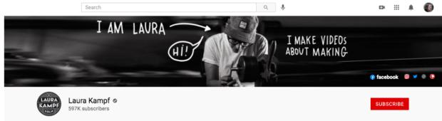 Laura Kampf YouTube banner art