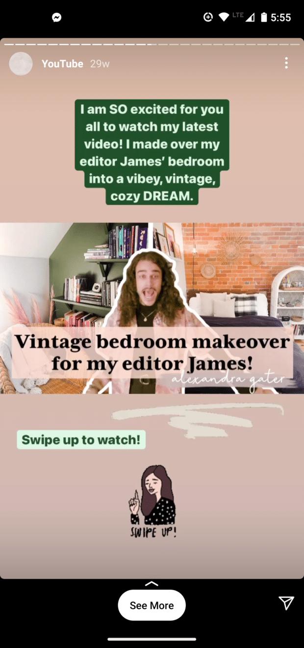 Instagram story vintage bedroom makeover